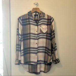 Topshop Soft White/Green/Blue/Red Flannel Shirt